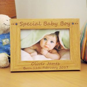 Special Baby Boy Wooden Photo Frame with Swarovski Crystals